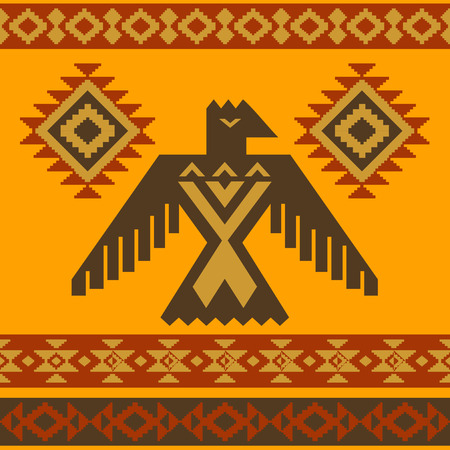 totem indien: Tribal style am�ricain aigle ornement illustration vectorielle native