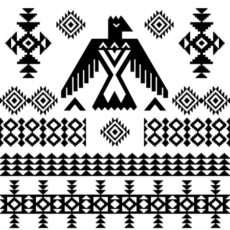 thunderbird: Vector tribal vintage native ethnic background eagle totem blacj and white Illustration