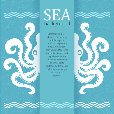 Sea background octopus silhouette and place for yor text design template retro style