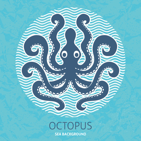 turquise: Octopus sea background template for design