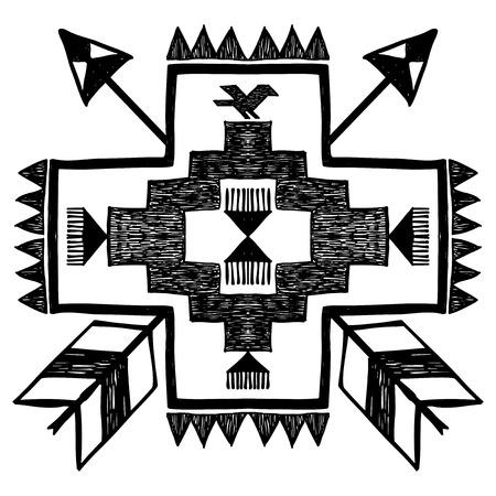 indios americanos: Nativo de estilo americano tribal dibujado a mano vector de adorno en blanco y negro
