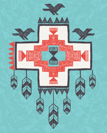Ethnic tribal vintage hand drawn ornament native style birds and feathers Illustration