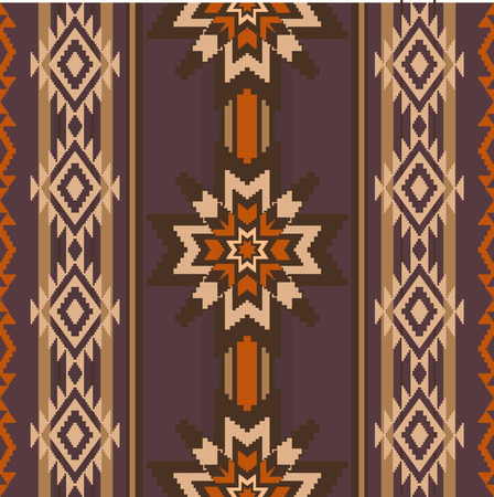Ethnic style fabric woven ornament seamless pattern with stars and trditional geometric elements Vector
