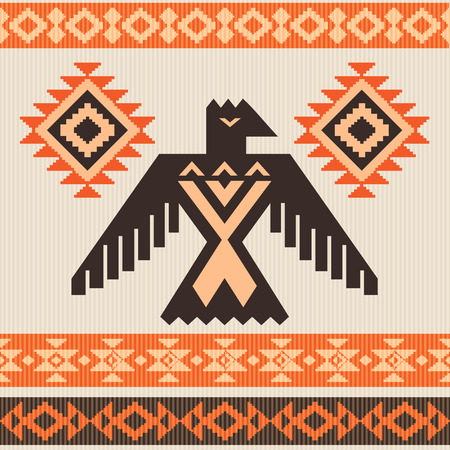 Ethnic tribal vector ornament with eagle