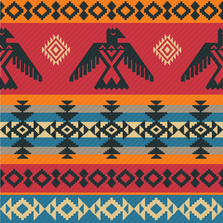 american indian aztec: Eagles ethnic geometric tribal vector pattern on native american style Illustration