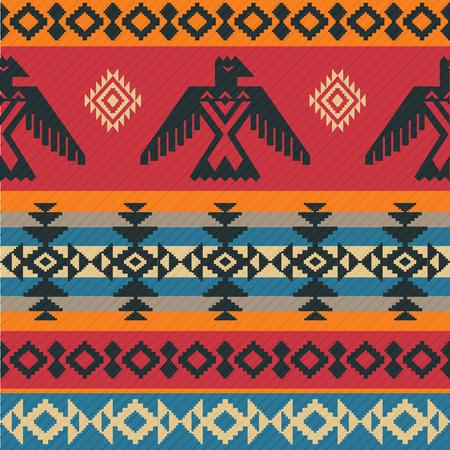 totem indien: Eagles modèle vectoriel ethnique géométrique tribale sur le style américain natif Illustration