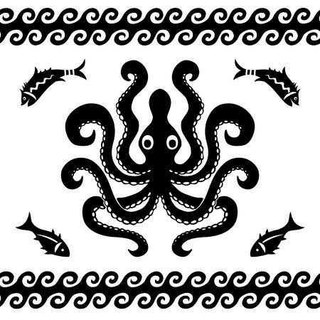 black octopus: Octopus and fish sea pattern decorative vector illustration black and white silhouettes Illustration