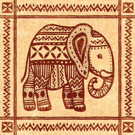 border designs: Elephant tribal african vintage ornamental vector illustration