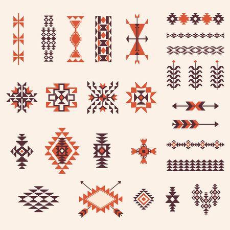 american indian aztec: Native american navajo aztec pattern vector elemets design set