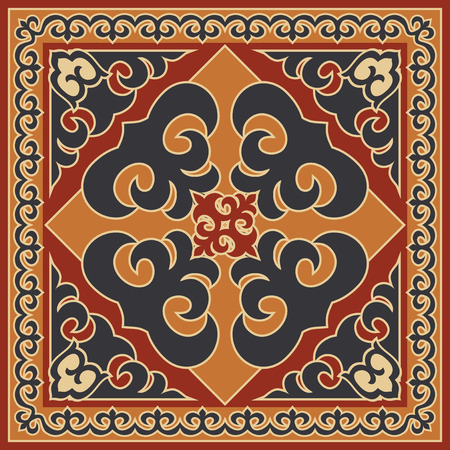 Asian style ornament, ethnic background. Mongolian, Buryat, Kalmyk, Kazakh traditional motifs