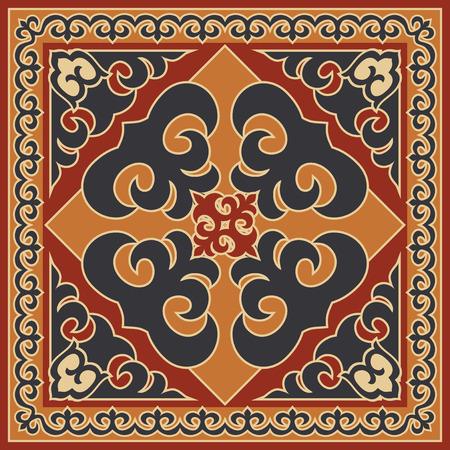 Asian style ornament, ethnic background. Mongolian, Buryat, Kalmyk, Kazakh traditional motifs
