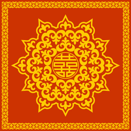 korean culture: Oriental china or mongolian round pattern double happiness symbol Illustration