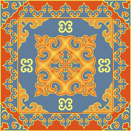 アジア風エスニック パターン。モンゴル語、ブリヤート、カルムイク、カザフ族の伝統的な装飾モチーフ  イラスト・ベクター素材