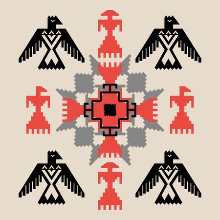 tribales: Estilo �tnico ornamento tribal abstracto con las aves, ilustraci�n vectorial