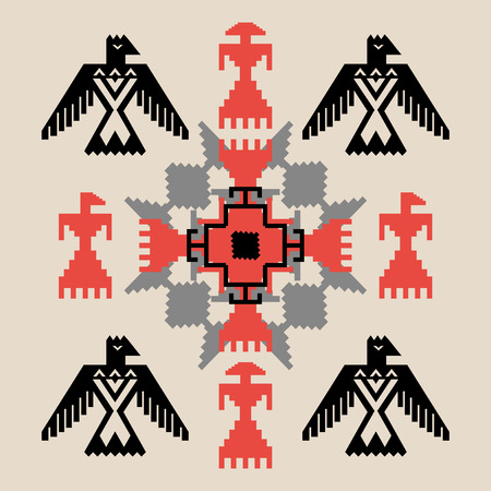 Ethnic style abstract tribal ornament with birds, vector illustration