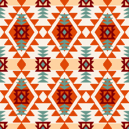 Abstract geometric seamless pattern, native american style inspired vector illustration