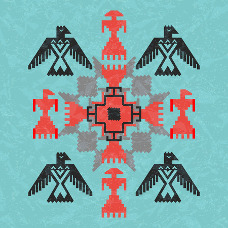 thunderbird: Navajo style ethnic ornament with birds and abstract geometric motif. Aztec tribal pattern, vector illustration Illustration
