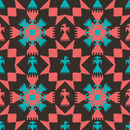 indian culture: Tribal seamless pattern with birds and abstract geometric elements Illustration
