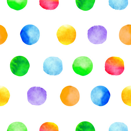 colorful: Watercolor hand drawn brush dots background. Colorful polka dot vector seamless pattern