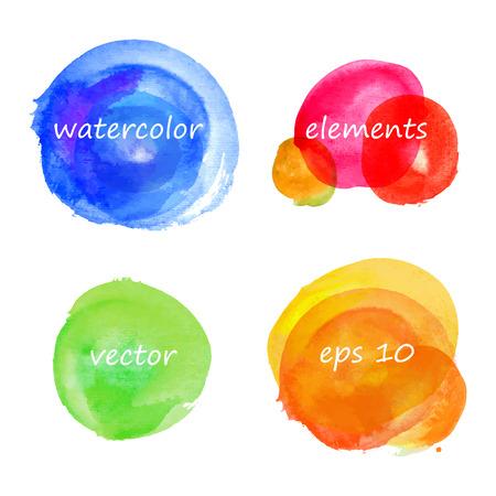 Set of hand drawn watercolor vector color spots, elements for design Illustration