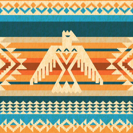 Navajo style abstract seavless pattern with eagle and traditional geometric motifs Illustration