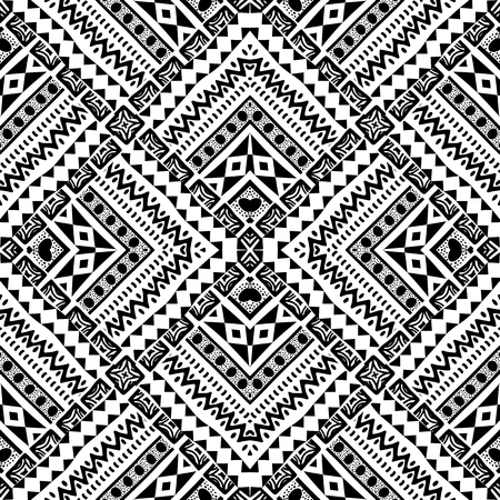 Abstract hand drawn geometric pattern in tribal style Vettoriali