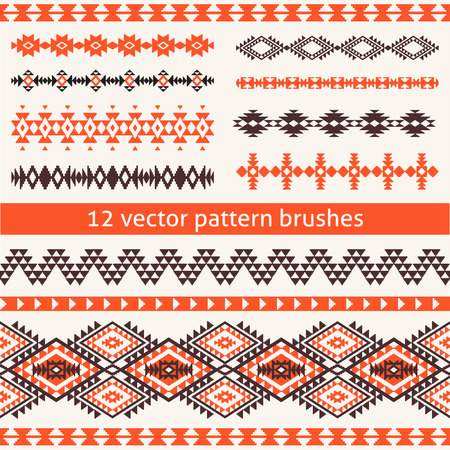 navajo: Set of ethnic navajo style vector pattern brushes. Geometric borders, templates for your design. All used brushes included.