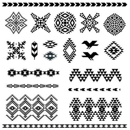 native indian: Set of navajo pattern elements for your design
