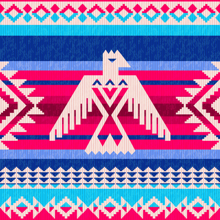 Navajo motifs colorful striped ethnic pattern with eagle and traditional ornament Illustration