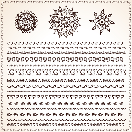 Set of ethnic ornamental borders, indian style ethnic motifs for borders, frames and lace ornament. Used pattern brushes included. Illustration