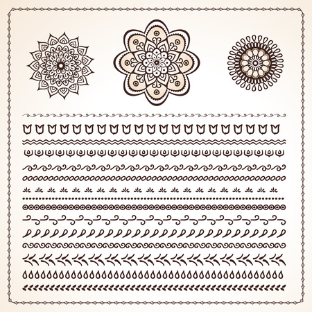 mehendi: Vector set of 25 pattern brushes, indian style ethnic motifs for borders, frames and lace ornament. Used pattern brushes included Illustration