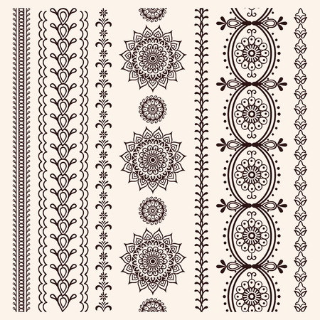Set of vector borders in indian style, hand drawn elements, mendi collection