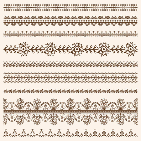 mendi: Vector set of floral ornamental borders in indian mendi style Illustration
