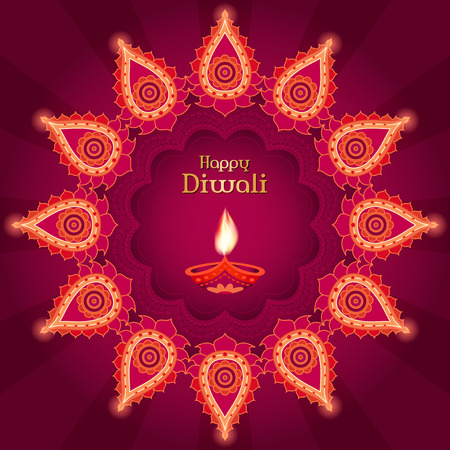 purple background: Diwali traditional inaian festival vector card