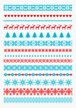 christmas motif: Christmas and New Year borders. Scandinavian style traditional motifs. All used pattern brushes included. Illustration