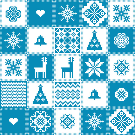 crocheted: Christmas patchwork background seamless pattern