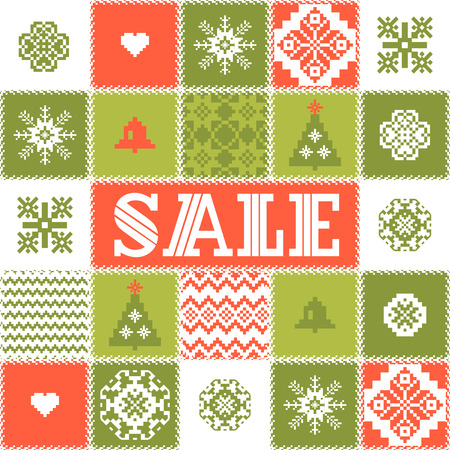 crocheted: Christmas sale patchwork background Illustration