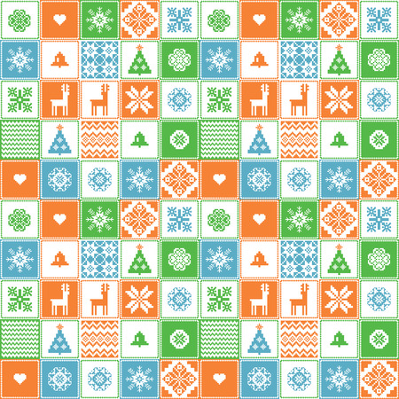crocheted: Christmas seamless background