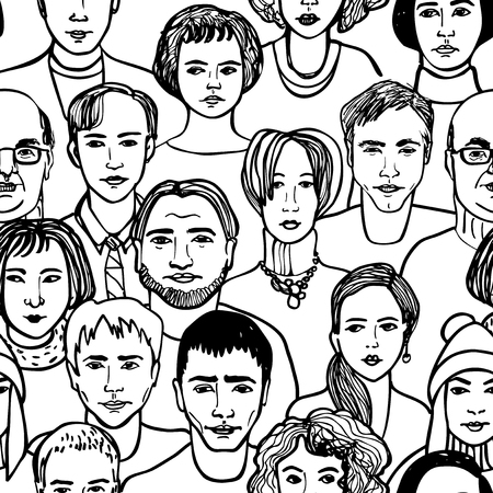 Crowd of people hand drawn faces seamless pattern