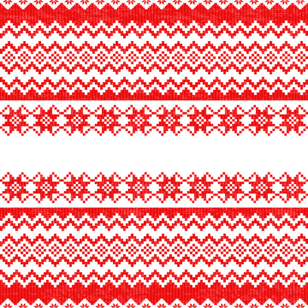 warm clothing: Red knitted traditional Christmas seamless pattern