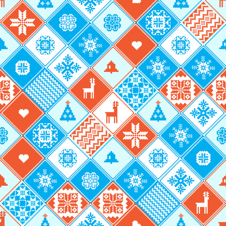 patchwork: Christmas patchwork seamless background
