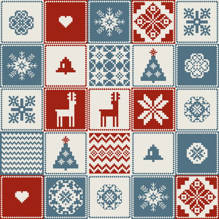 deer in heart: Traditional christmas handmade patchwork background  seamless pattern Illustration
