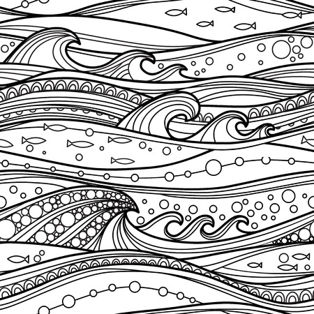 waves ocean: Sea black and white doodle seamless pattern Illustration