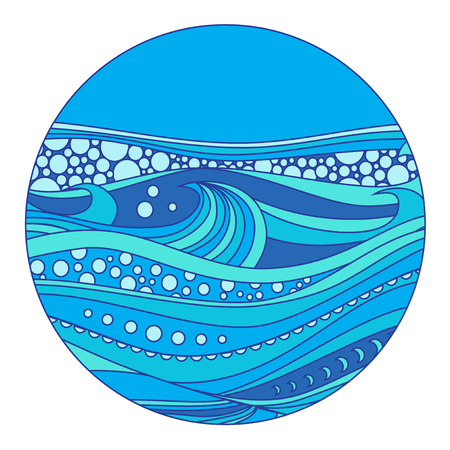 rounde: Sea doodle pattern in the form of a circle
