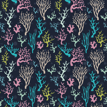 reef: Sea corals seamless pattern Illustration