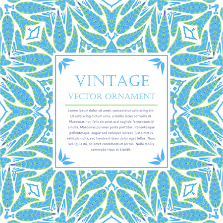 blue and green: Vintage vector ornamental card template, abstract floral background