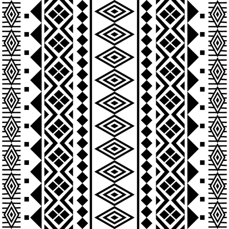 black borders: Tribal abstract geometric seamless pattern in black and white