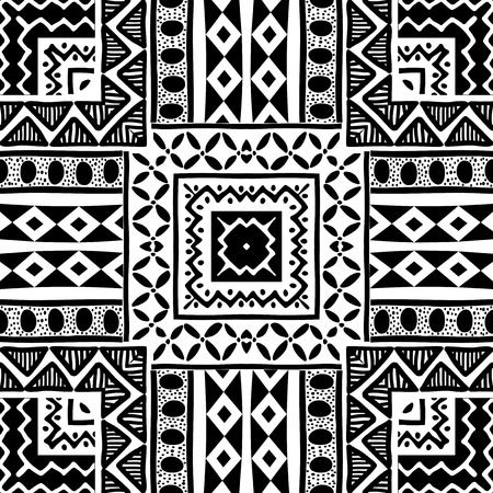 black borders: Tribal ornament black and white ethnic seamless pattern Illustration