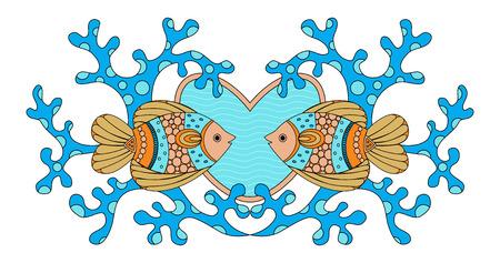 coral fish: I love sea. Coral fish vector illustration. Illustration
