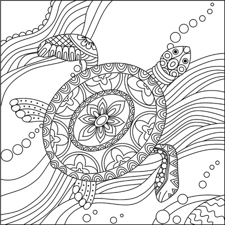 Sea turtle. Doodle hand drawn vector illustration. Coloring book pages for kids and adults.